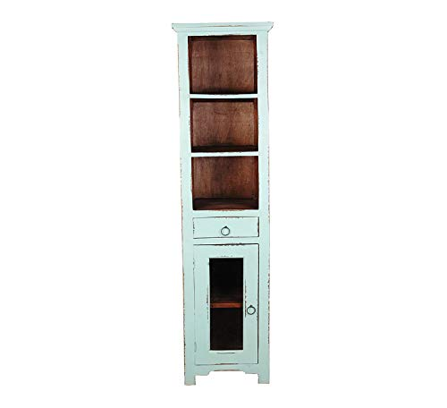 Wood & Style Furniture Shabby Chic Cottage Narrow Cabinet, Teal with raftwood Inside Home Office Commerial Heavy Duty Strong Décor ()