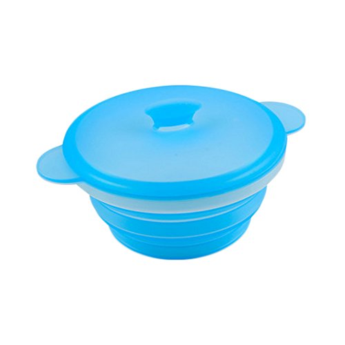 (PANDA SUPERSTORE Durable Silicone Collapsible Travel Camping Bowl Outdoor Bowl(680ml,Light-Blue))