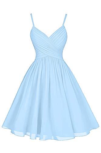 Beachy Wedding Bridesmaid Dresses Short Knee Length Spaghetti Strap A-Line V-Neck Chiffon Cocktail Party Dress Light Sky Blue