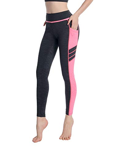 08303b178baab Sylonway Women's High Waist Yoga Pants with Pockets & Mesh Tummy Control  Workout Running Leggings for
