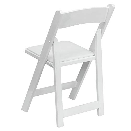 Flash Furniture 4 Pk. HERCULES Series White Wood Folding Chair with Vinyl Padded Seat -