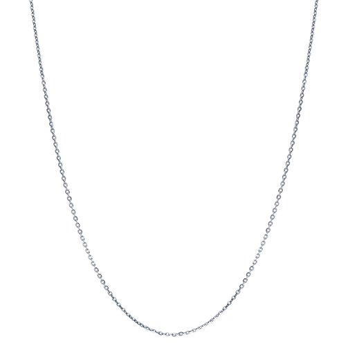 BERRICLE Italian Rhodium Plated Sterling Silver Rolo Fashion Chain Necklace 1mm 18 inch
