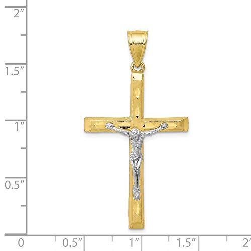 10K Yellow Gold & Rhodium Plated D/C Crucifix ()