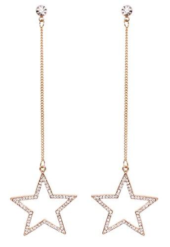Crystal Chandelier Gold Laurel (MISASHA Elegant Rhinestone Star Blingy Dangle Earrings)
