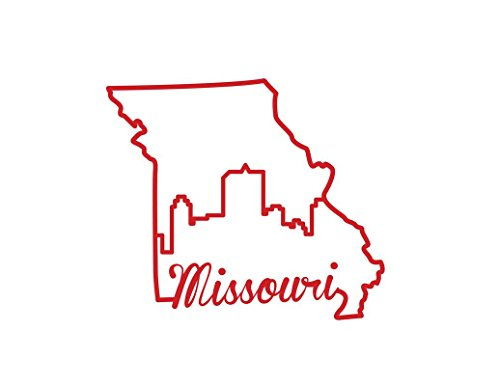 (ND341R State Of Missouri Script Decal Sticker | 5.5-Inches By 4.7-Inches | Premium Quality Red)