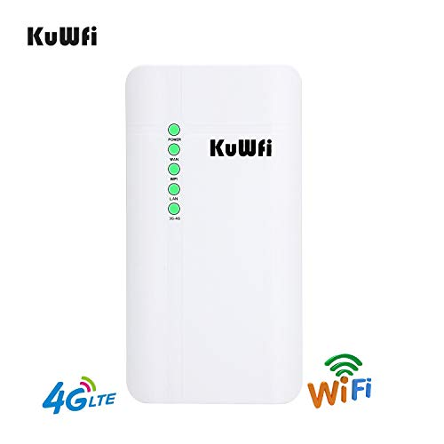 - KuWFi Outdoor 4G LTE CPE WiFi Router with Sim Card Slot 150Mbps CAT4 SIM Routers for Home/Office use Easy Setu Up to 32 Users Work with IPcamera or Outside WiFi Coverage (US Version B2/B4/B5/B7)