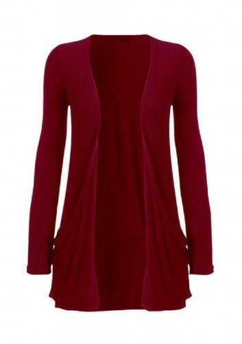 Hot Hanger Ladies Plus Size Pocket Long Sleeve Cardigan 16-26 (24-26 XXXL, Wine)