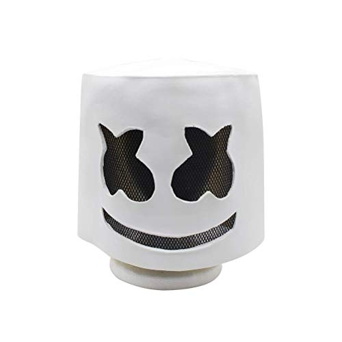 Marshmallow Mask Electronic Syllable DJ Headgear Novelty Costume Party Mask Halloween DJ Mask Party Scary Horror Zombie Mask White