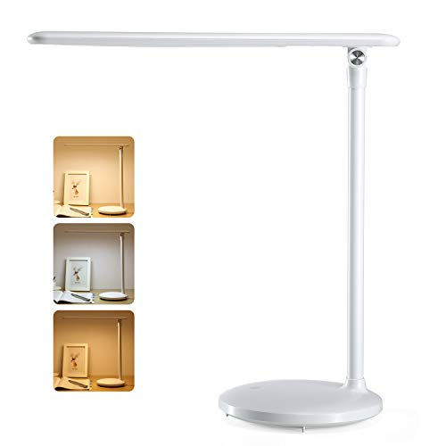 One Fire LED Desk Lamp, Eye-Caring Dimmable USB LED Table Lamp, 3 Color Modes, Touch Control Modern Office Lamp, Adjustable Rechargeable Study Lamp for Kids Bedroom Dorm Study Work Reading (White) by onefire