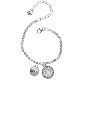 Cut Out Faith Charm (Faith Disc with Cutout Flower She Believed She Could So She Did Engraved Bracelet)