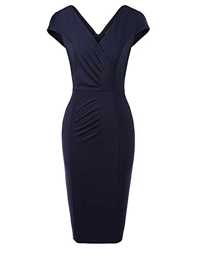 MAVIS LAVEN Ladies Ruched Slim Going Out Ball Wedding Formal Dress Navy Blue