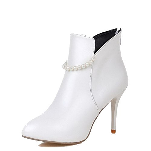 PU White High Low Heels AgooLar Boots top Women's Zipper Solid Rx5awqFf