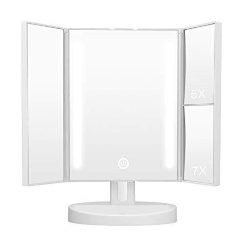 KEDSUM Trifold Lighted Makeup Mirror,LED Vanity Mirror with Lights,Tabletop Mirror with 5X Pocket Mirror,Batteries or USB Charging (Regular & Magnifying Mirror) by KEDSUM