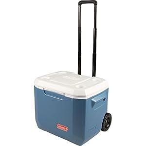 Coleman 50Qt Xtreme Wheeled Cooler Hard Shell Passive Cooler – Blue/White