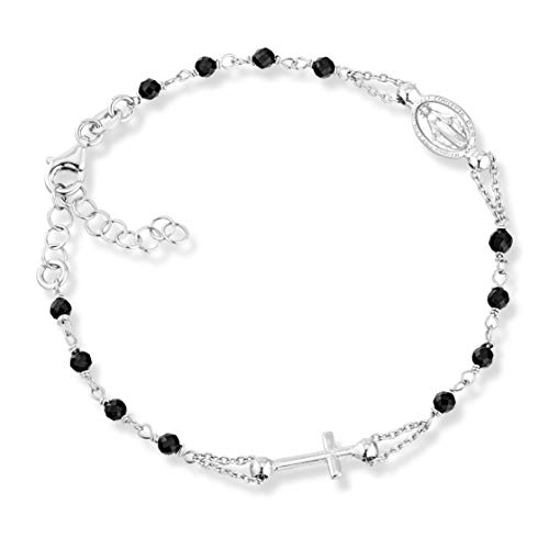 MiaBella 925 Sterling Silver Italian Rosary Cross Bead Bracelet with Natural Black Spinel, Link Chain Adjustable 7 to 8 Inches Gemstone Jewelry for Women Girls