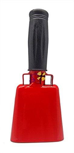 6.1 inch Red Bell Black Handle Cowbell with Stick Grip Handle Used for Cheering at Sporting Events - Cow Bell by Stewart TradingTM