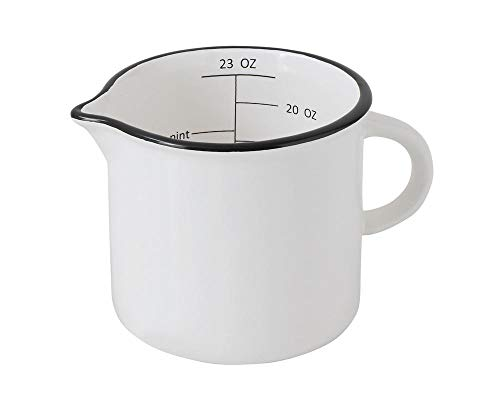 Cup Measuring White - Creative Co-Op Large White Stoneware Measuring Cup with Black Rim