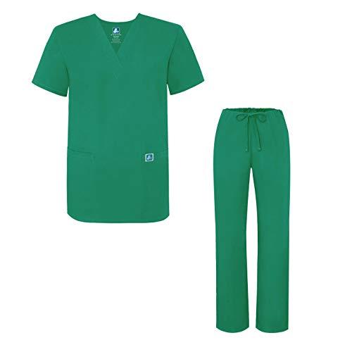 Verde Set forest Uniformi Pantaloni Uniforme Medica Green E Con Camice Adar Maglia Unisex RPwEvxx