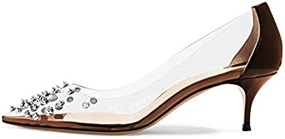 XYD Women Rhinestone Studded Pumps Pointy Toe Mid Spike Heel Slip On Transparent Clear PVC Evening Party Dress Shoes