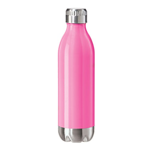 Oggi 8083.13 Stainless Steel Calypso Double Wall Sports Bottle with Screw Top (.5 Liter, 17oz )-Pink Neon Finish