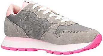SUN68 Sneakers Running Donna Ally Solid Nylon in Tessuto/Pelle Scamosciata Grigio DS20SU01