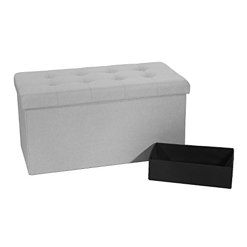 Seville Classics WEB367, Light Grey Foldable Storage Bench/Ottoman -