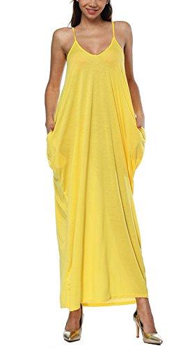 Bluewolfsea Dress Casual Pocket Cover Spaghetti Strap Beach Plain Maxi V Summer Neck Women Yellow Loose Long up HxOrH0