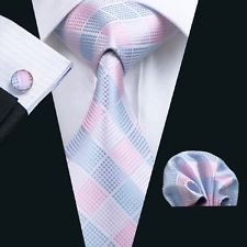 Dan Smatree Pink Tie Mens Necktie Pink Hankerchief Pocket Square Cufflinks - Brooks Returns Brothers