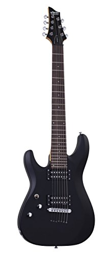 (Schecter C-7 DELUXE LH Satin Black 7-String Solid-Body Electric Guitar, Satin Black)