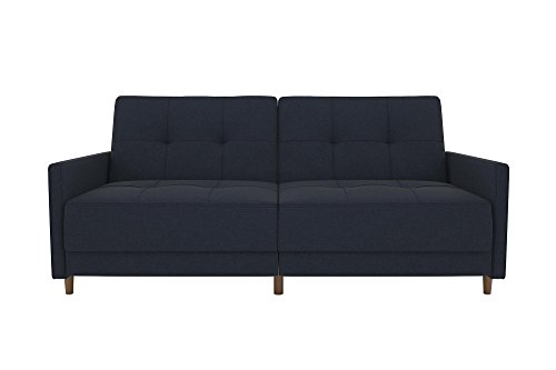 DHP Andora Coil Futon Sofa Bed Couch with Mid Century Modern Design - Navy Blue Linen - Mid-Century Modern design with tufted seat and back cushions and wooden legs. Seat is made with independently encased coils providing additional comfort. Includes center legs for additional support. - sofas-couches, living-room-furniture, living-room - 315mckuOFTL -