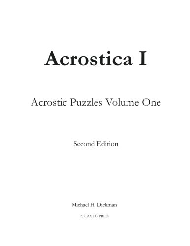 Acrostica I Acrostic Puzzles Volume One Volume 1 Buy Online In