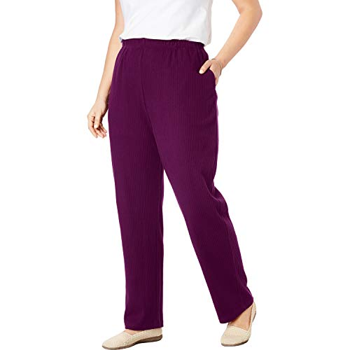 Woman Within Women's Plus Size 7-Day Knit Ribbed Straight Leg Pant - Dark Berry, - Knit Ribbed Pants