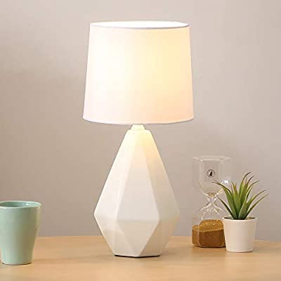 "SOTTAE Modern Ceramic Small White Irregular Geometric Livingroom Bedroom Bedside Table Lamp, Desk Lamp with White Fabric Shade - Size: Diameter: 7.09"", Height:14.96"",Item Weight:2.54pounds . Attention: please clearly the size when you look through our product. Design: Modern style, simple, ceramic lamp body with white fabric lampshade. Security Certification: Our products have passed authentication of ETL safety system of US. - lamps, bedroom-decor, bedroom - 315mfkKwEgL. SS400  -"