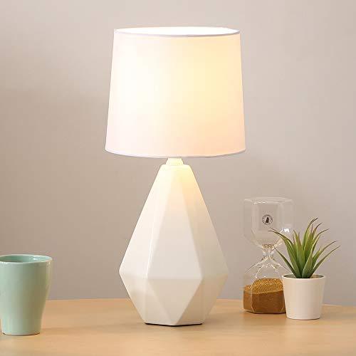 SOTTAE Modern Ceramic Small White Irregular Geometric Livingroom Bedroom Bedside Table Lamp, Desk Lamp with White Fabric Shade (Modern Base Lamp)