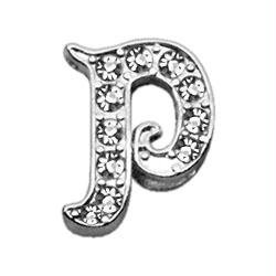 Mirage Pet Products Clear Script Sliding Collar Charms, 3/8-Inch, Letter P (Chrome Letter Sliding Charms)