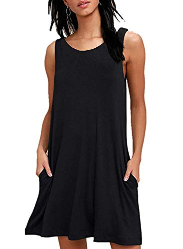 Zalalus Summer Casual Dress, Tank Top Sleeveless Loose T-Shirt Swing Dress for Women Juniors with Pockets Beach Cover-up Shift Sun Dresses Black Small US4 6