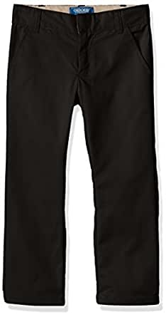 CHEROKEE Big Boys' Uniform Classic Fit Twill Pant with Adjustable Waist, Black, 8