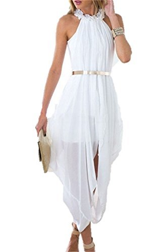 Designer97 Women's Elegant Hi Low Sheer Chiffon Gold Belted Folds Casual Beach Holiday Party Dress (Small, White)