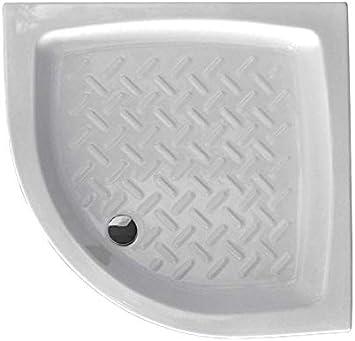 Plato de ducha 80 x 80 semicircular de cerámica blanca esmaltada ...