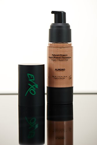 Natural Coverage Liquid Mineral Foundation Makeup – Organic Ingredients, Gluten-Free, Vegan, Cruelty-Free, (Almond/Tan-Medium with Warm undertones)