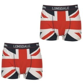 7f7ae13a7e Lonsdale Union Jack 2 Pack Trunks Mens White/Navy/Red Medium: Amazon ...