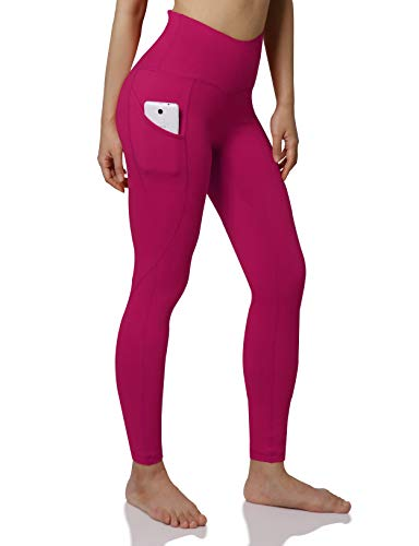 ODODOS Women's High Waist Yoga Pants with Pockets,Tummy Control,Workout Pants Running 4 Way Stretch Yoga Leggings with Pockets,Fuchsia,Medium from ODODOS