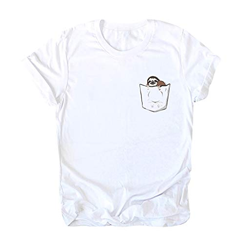 Fshinging Women Plus Size T-Shirt, Summer O-Neck Short Sleeve Tee Casual Blouse Top Basic Tops(White,XXL)