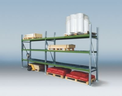 Weitspannregal-Kombination, mit verzinkten Stahleinlegeböden - Komplett-Regal, 6 Fachebenen, 3 Stützrahmen HxBxT 2500 x 5610 x 800 mm - Komplettregal Regal Schwerlastregal Stahlregal Weitspannregal Weitspannregalset