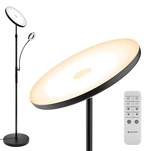 Stehlampe LED Dimmbar, AUKZON Modern 30W Deckenfluter mit 6W Leselampe -2673LM LED Standleuchte Stufenlos Dimmbar mit 5 Farbtemperatur, Fernbedienung & Touch Control für Wohnzimmer Schlafzimmer Büro