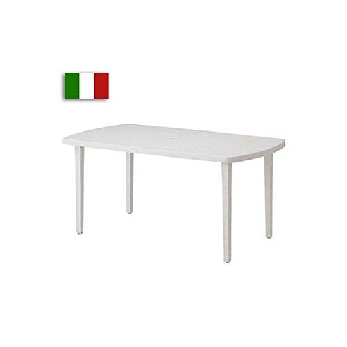 ガーデンテーブル 屋外用 オラジオ テーブル160 ホワイト パラソル穴付 B076BKGK8X