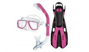 HEAD By Mares Tarpon Travel Friendly Premium Mask Fin Snorkel Set, Pink, Medium, (7-10)