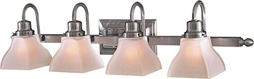 Minka Lavery Wall Light Fixtures 5583-84 Mission Ridge Reversible Glass Bath Vanity Lighting, 3 Light, 300 Watts, Nickel