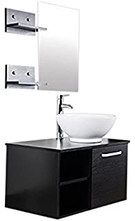 vanity and sink combo for small bathroom. Elecwish 28  inch Wall Mount Vanity Cabinet Round Ceramic Vessel Sink with Combo Amazon com Small Bathroom and Mirror