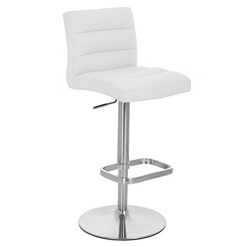 Zuri Furniture White Lush Adjustable Height Swivel Armless Bar Stool